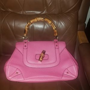 Gucci Pebbled Leather Bamboo Bag